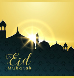eid mubarak greeting card design with mosque and vector image