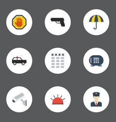 flat icons policeman keypad forbidden and other vector image vector image