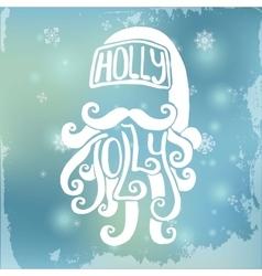 Handdrawn Santa on Blurred Background Xmas vector image