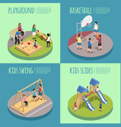 children playground isometric compositions vector image vector image