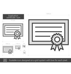Graduation certificate line icon vector image vector image