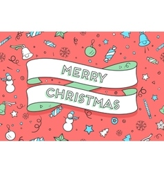 Greeting card with trendy ribbon and text Merry vector image vector image