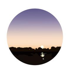 lake at dawn landscape vector image vector image