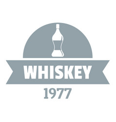 bottle whiskey logo simple gray style vector image vector image