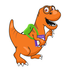 cute dinosaur with glasses and textbook vector image