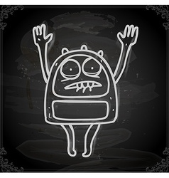 Scared alien drawing on chalk board vector