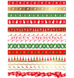 seamless borders for the christmas vector image vector image