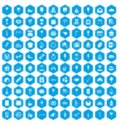 100 sweets icons set blue vector