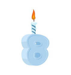 8 years birthday number with festive candle for vector
