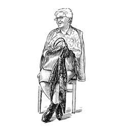 A sketch an elderly woman sitting on a chair vector