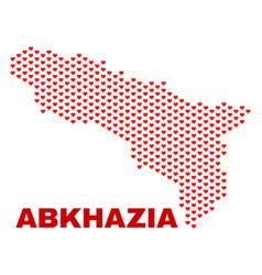 abkhazia map - mosaic of love hearts vector image