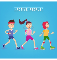 Active People Man and Woman Runners vector image