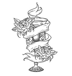 Ancient silver goblet with wine and roses vector