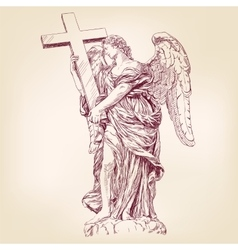 Angel holding a cross hand drawn vector
