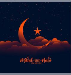 Beautiful eid milad un nabi design with moon vector