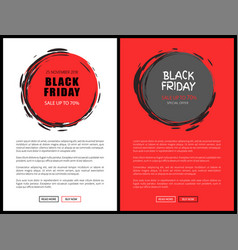 black friday discount round sketch badges vector image