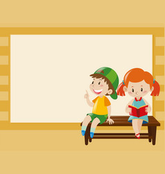 border template with kids on the bench vector image