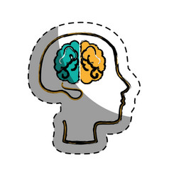 brain human with profile creative icon vector image