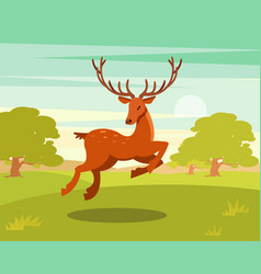 Brown spotted deer with antlers running wild vector