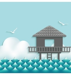 bungalow over waves on sky background vector image