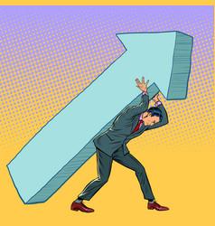 Businessman carries an arrow direction motivation vector