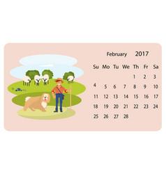 Calendar 2018 for february vector