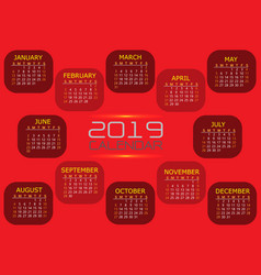 calendar 2019 red tone design vector image