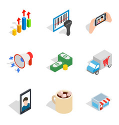 Capable female icons set isometric style vector