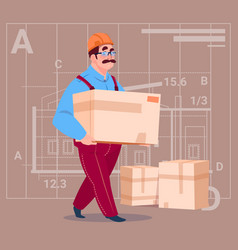 cartoon builder carry box wearing uniform and vector image