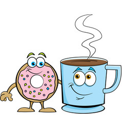 cartoon donut standing next to a cup coffee vector image