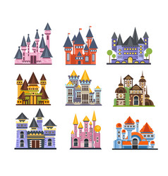 castles and fortresses set fairy medieval vector image