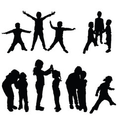 Children black silhouette in various poses vector