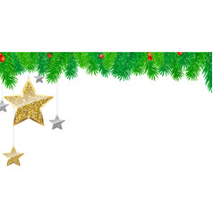 Christmas banner with fir branches gold and vector