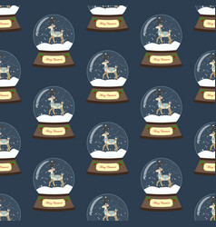 christmas snow globe with deer seamless pattern vector image
