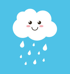 Cloud character with rain drops on blue background vector