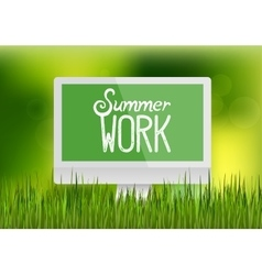 Computer monitor workplace summer work vector