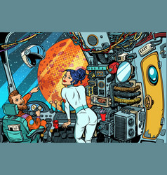 Cosmonauts navigator and captain control room vector