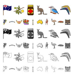 Country australia cartoon icons in set collection vector