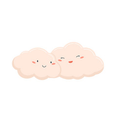 couple cute and funny pink clouds together vector image