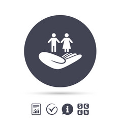 couple insurance sign hand holds human group vector image