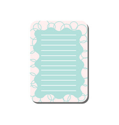 cute card with place for notes light blue lined vector image