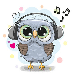 Cute cartoon owl with headphones vector