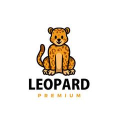 Cute cheetah leopard cartoon logo icon vector
