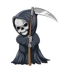 Cute grim reaper holding scythe vector