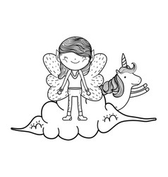 Cute little fairy with unicorn in the clouds vector