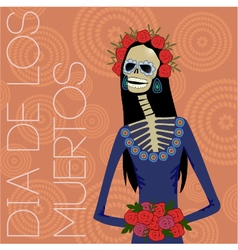 day dead sugar skull woman vector image