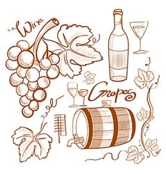 doodle wine set vector image