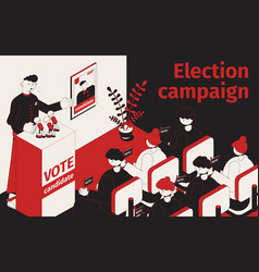 election campaign isometric composition vector image
