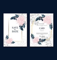 Elegant floral gold wedding invitation banner vector