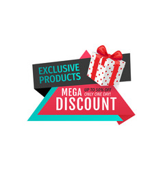 exclusive products mega discounts half cost off vector image